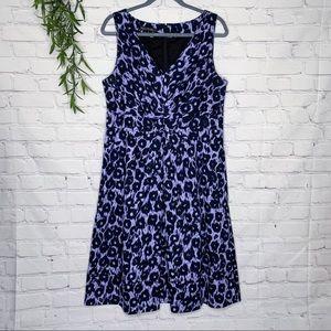 Lafayette 148 Duncan purple leopard dress size 14